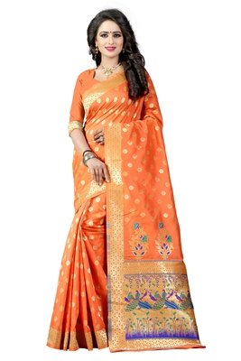 Orange woven saree with blouse