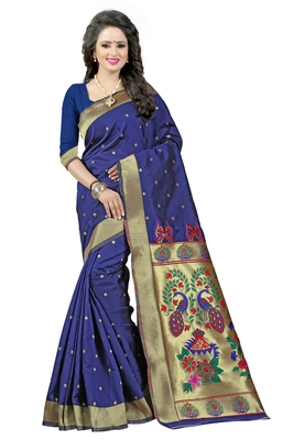 Navy blue woven saree with blouse