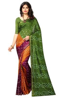 Multicolor printed taffeta saree with blouse