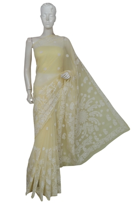 Ada Hand Embroidered Lemon Faux Georgette Lucknow Chikankari Saree With Blouse