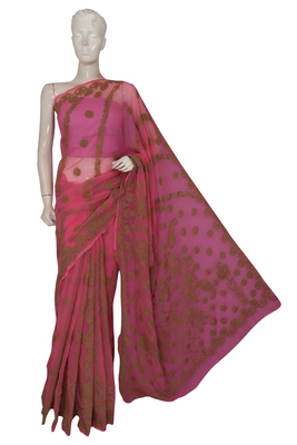 Ada exclusive handcrafted pink faux georgette saree with blouse