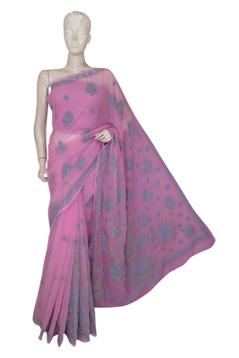 Ada hand embroidered pink faux georgette lucknow chikankari saree with blouse