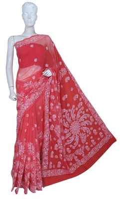 Ada Hand Embroidered Carrot Pink Faux Goergette Lucknow Chikankari Saree With Blouse