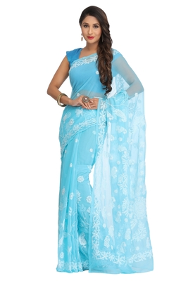 Ada hand embroidered blue faux georgette lucknow chikankari saree with blouse