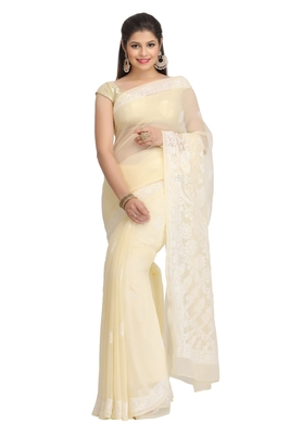 Ada Hand Embroidered Fawn Faux Georgette Lucknow Chikankari Saree With Blouse