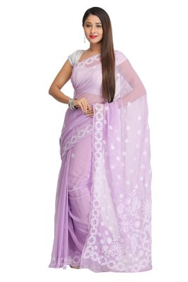 Ada Hand Embroidered Mauve Faux Georgette Lucknow Chikankari Saree With Blouse