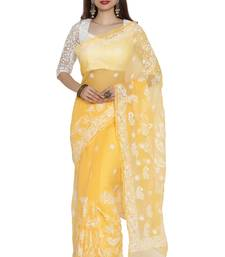 Buy Ada hand embroidered yellow faux georgette lucknow chikankari saree with blouse chikankari-saris online
