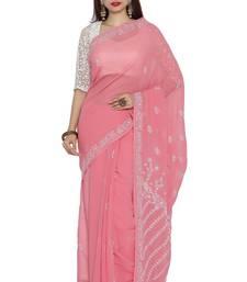 Ada hand embroidered onion pink faux georgette lucknow chikankari saree with blouse chikankari-saris