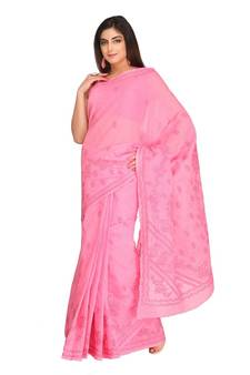 7caecf1038 Ada hand embroidered pink cotton lucknow chikankari saree with blouse