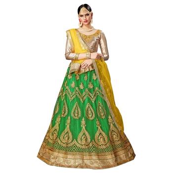 Green Embroidered Net Semi Stitched Lehenga With Dupatta