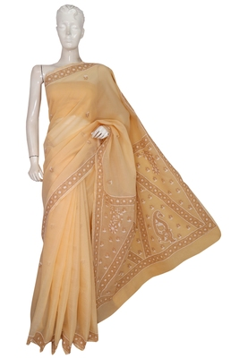 Ada hand embroidered fawn cotton lucknow chikankari saree with blouse