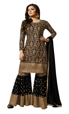 Black embroidered georgette Sharara Suit
