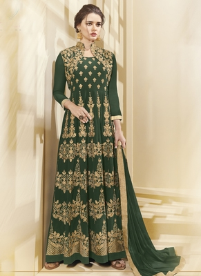 Green resham embroidery georgette semi stitched anarkali suit
