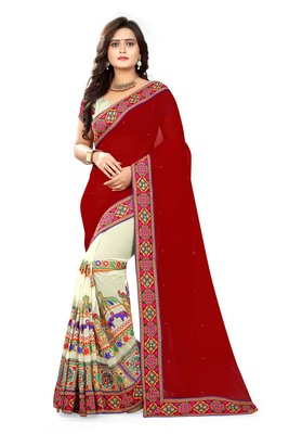 Maroon Embroidered Georgette Saree With Blouse