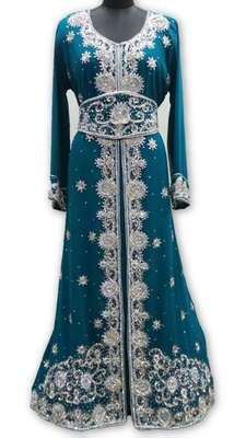 Green georgette embroidered islamic kaftans