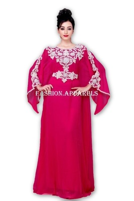 Magenta georgette embroidered islamic kaftans