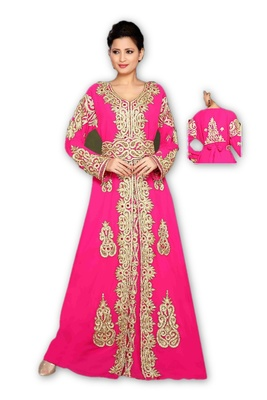 Pink georgette embroidered islamic kaftans