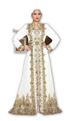 Off White georgette embroidered islamic kaftans