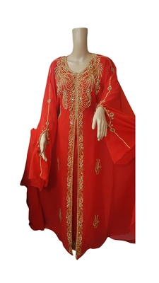 Red georgette embroidered islamic kaftans