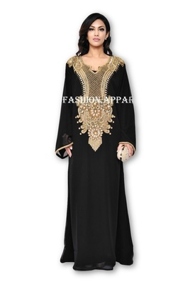 Black georgette embroidered islamic kaftans