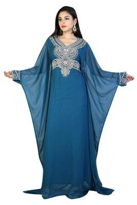 Blue georgette embroidered islamic kaftans