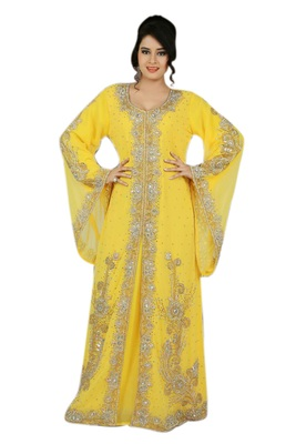 Yellow georgette embroidered islamic kaftans