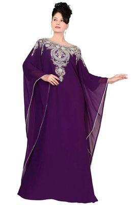 Purple georgette embroidered islamic kaftans