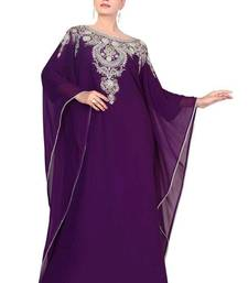 Purple georgette embroidered islamic kaftans