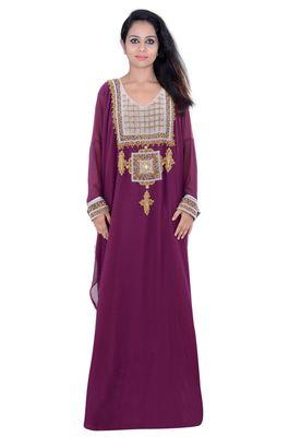 Magenta georgette embroidered islamic kaftans