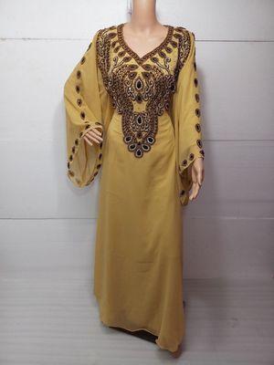 Beige georgette embroidered islamic kaftans
