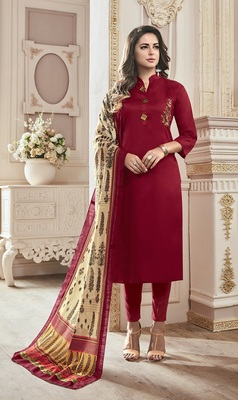Maroon Cotton Embroidered Semi Stitched Salwar With Dupatta