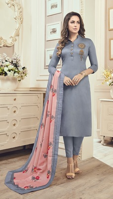 Grey Cotton Embroidered Semi Stitched Salwar With Dupatta