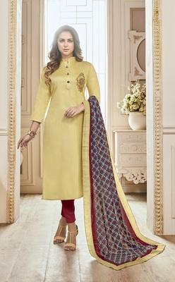 Beige Cotton Embroidered Semi Stitched Salwar With Dupatta