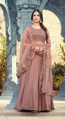 Light pink georgette embroidered semi stitched salwar with dupatta
