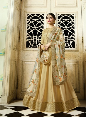 Golden Silk Embroidered Semi Stitched Salwar With Dupatta