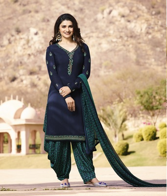 Blue crepe embroidered semi stitched salwar with dupatta
