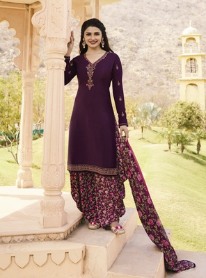 Purple crepe embroidered semi stitched salwar with dupatta