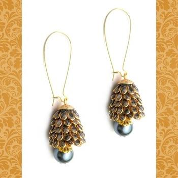 Grey Pachi work Jhoomar earrings