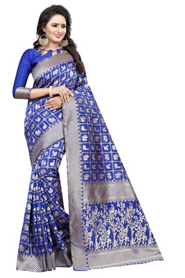 85bbe75c879c79 Blue woven cotton silk saree with blouse - Satyam Weaves - 2670878
