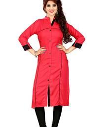 Red plain rayon straight kurtis