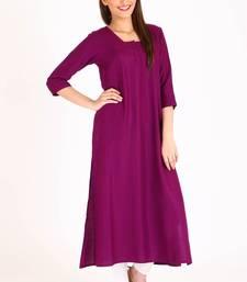 Buy Purple plain rayon kurti plus-size-kurtis online