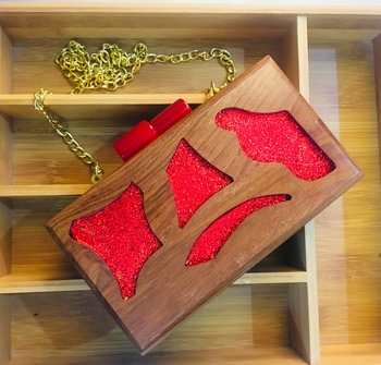 Handcrafted Designer Wooden Resin box clutches