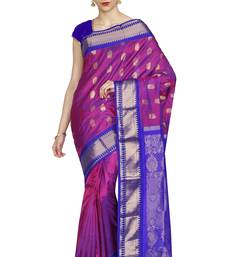 Buy Pink hand woven pure silk saree with blouse silk-saree online