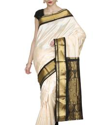 Buy Cream hand woven pure silk saree with blouse silk-saree online