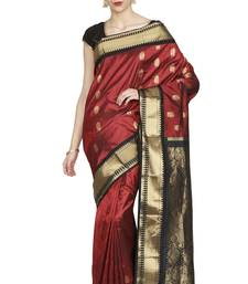 Buy Red hand woven pure silk saree with blouse silk-saree online
