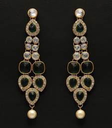 Green Color Dangle Kundan Earrings