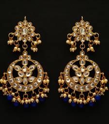 Blue color dangle kundan earrings