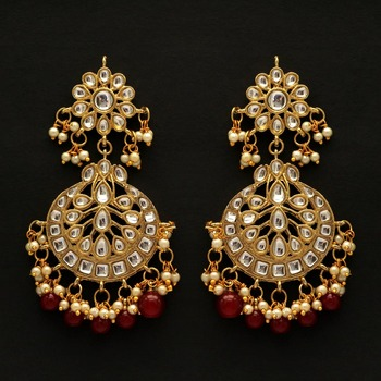 Maroon color dangle kundan earrings