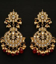 Maroon color dangle kundan earrings