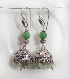 Light green beadsoxidized jhumkas